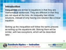 Creating Linear Inequalities in One Variable Presentation