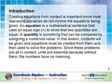 Creating Linear Equations in One Variable Presentation