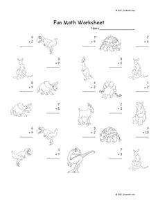 Fun Math Worksheet: 1-Digit Addition 6 Worksheet