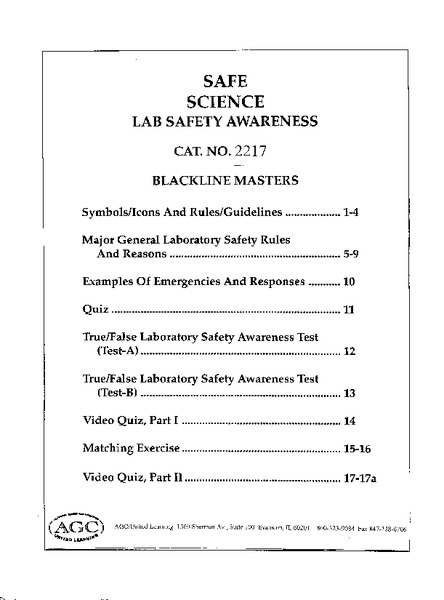 Safe Science Lab Safety Awareness Handouts & Reference