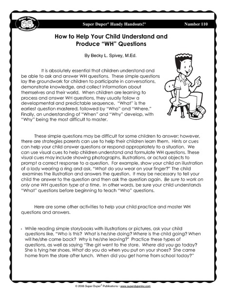 "How to Help Your Child Understand and Produce ""Wh"" Questions Handouts & Reference"