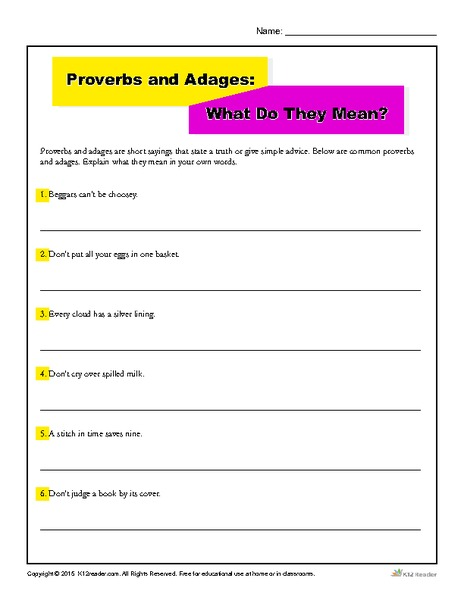 Proverbs and Adages: What Do They Mean? Worksheet for 4th