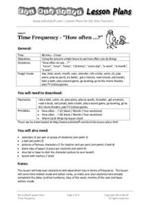 "Time Frequency - ""How Often ...?"" Lesson Plan"