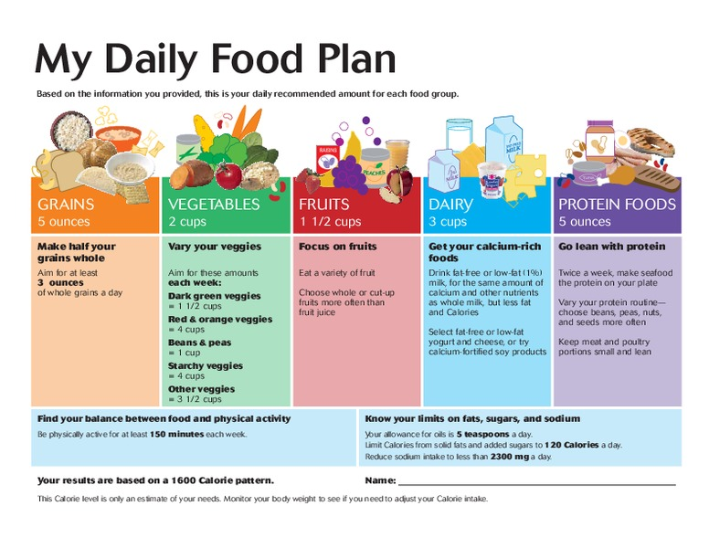 My Daily Food Plan 18 Years Old Graphic Organizer For 11th