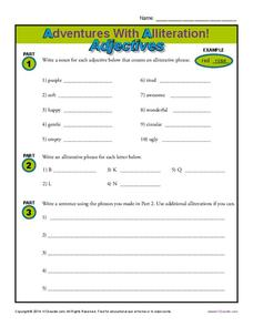 Adventures with Alliteration! - Adjectives Worksheet