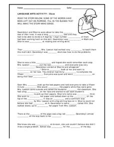 Language Arts Activity - Cloze Worksheet