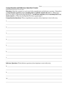 Comprehension and Inference Question Creator Worksheet