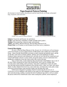 Tapa-Inspired Pattern Painting Lesson Plan