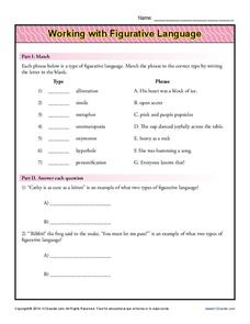 Working with Figurative Language Worksheet for 6th - 8th ...