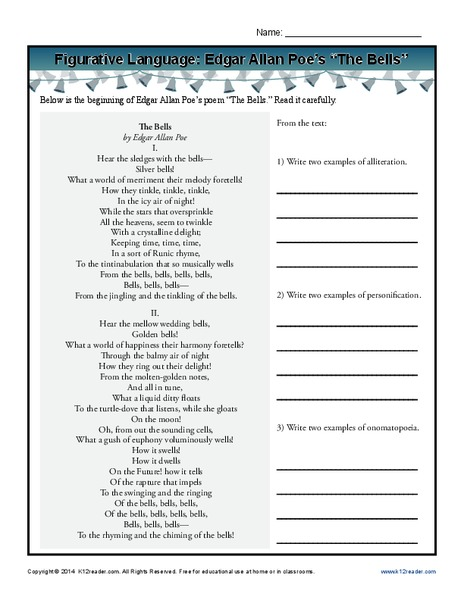 "Figurative Language: Edgar Allan Poe's ""The Bells"" Worksheet"