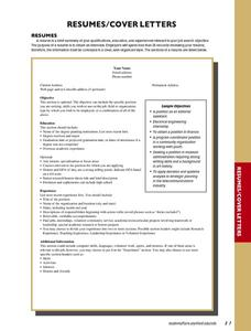 Resumes/Cover Letters Lesson Plan