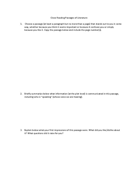 Close Reading Passages of Literature Worksheet