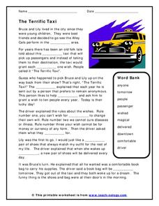 The Terrific Taxi Worksheet