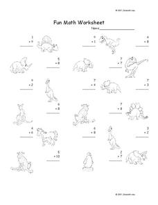 Fun Math Worksheet: 1-Digit Addition 7 Worksheet