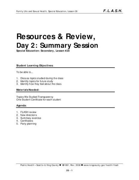 Lesson 28: Resources & Review - Day 2: Summary Session Lesson Plan
