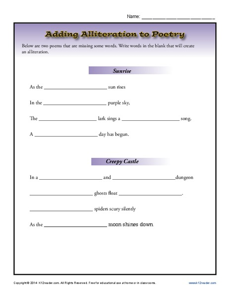 Adding Alliteration to Poetry Worksheet