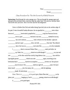 The Kite Runner: Cloze Procedure Worksheet