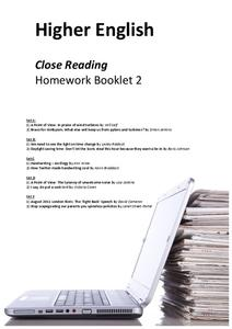 Close Reading Homework Booklet Worksheet