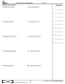 Using Order of Operations Worksheet