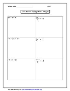 Solve the Two-Step Equations – Integers Worksheet