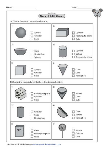 Name Of Solid Shapes Worksheet For 1st 4th Grade