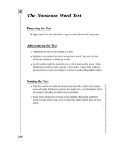 The Nonsense Word Test Activities & Project