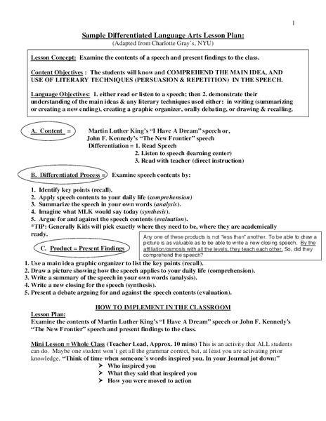 Sample Differentiated Language Arts Lesson Plan