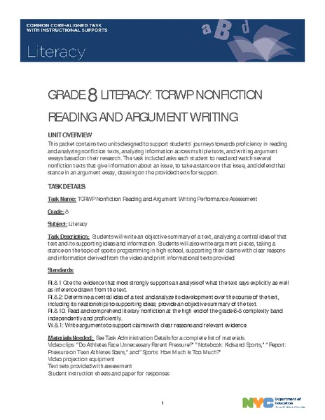 TCRWP Nonfiction Reading and Argument Writing Performance Assessment Unit