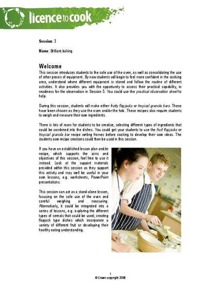 Brilliant Baking Lesson Plan