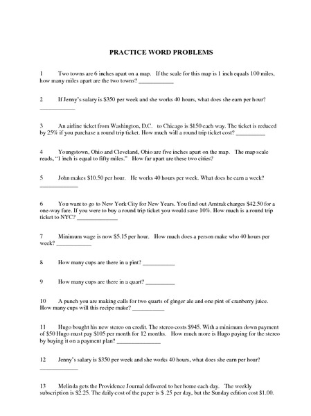 Practice World Problems Worksheet