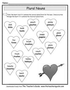 Plural Nouns for Valentine's Day Worksheet