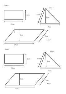 Area of Various Shapes Worksheet