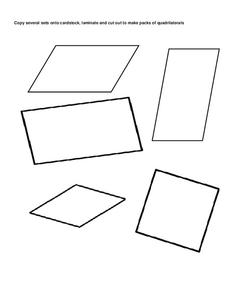 Quadrilaterals Pack 2 Printables & Template
