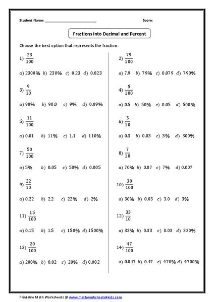 Fractions into Decimal and Percent Worksheet