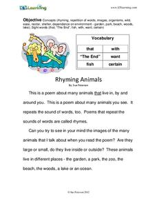 Rhyming Animals Worksheet
