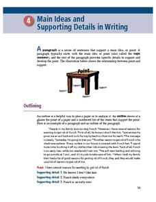 Main Ideas and Supporting Details in Writing Worksheet