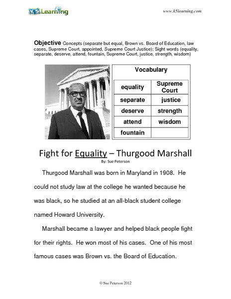 Fight for Equality: Thurgood Marshall Worksheet