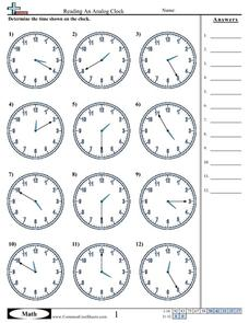 Reading an Analog Clock (5 Minute Increments) Worksheet