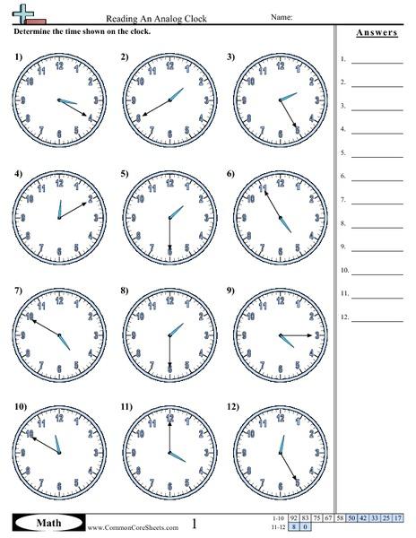 reading an analog clock 5 minute increments worksheet for 2nd 3rd grade lesson planet. Black Bedroom Furniture Sets. Home Design Ideas