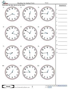 Reading an Analog Clock (1 Minute Increments) Worksheet