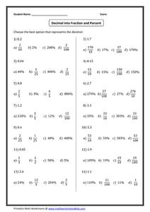 Decimal into Fraction and Percent Worksheet