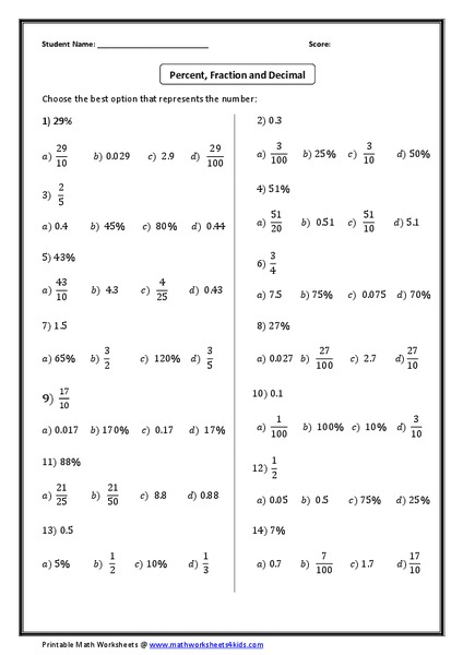 Percent, Fraction, and Decimal Worksheet