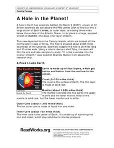 A Hole in the Planet! Worksheet