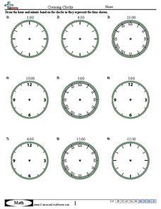 Creating Clocks (Half Hour Increments) Worksheet for 1st
