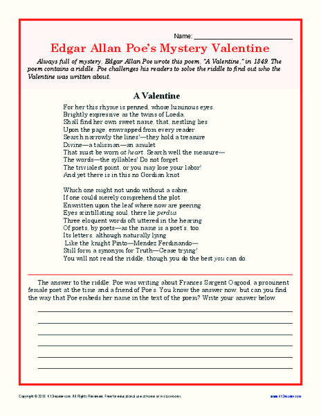 Edgar Allan Poeu0027s Mystery Valentine 7th   10th Grade Worksheet | Lesson  Planet