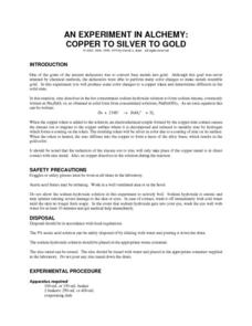 An Experiment in Alchemy: Copper to Silver to Gold Lab Resource