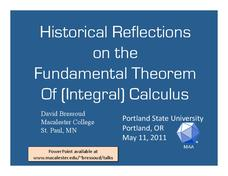 Historical Reflections on the Fundamental Theorem Of (Integral) Calculus Presentation