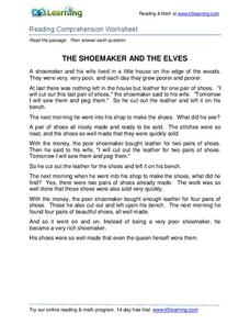The Shoemaker and the Elves Worksheet