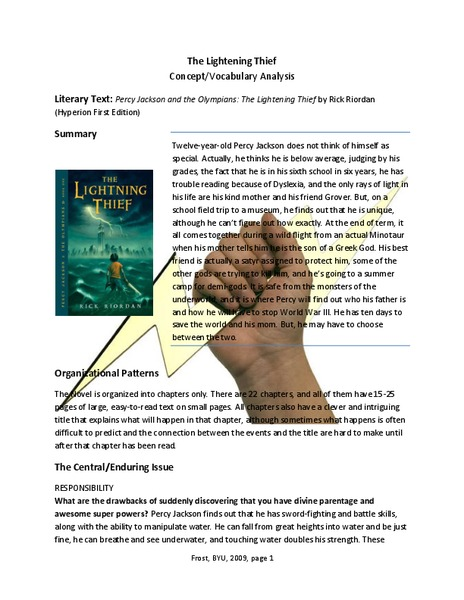 The Lightning Thief Concept Vocabulary Analysis Activities