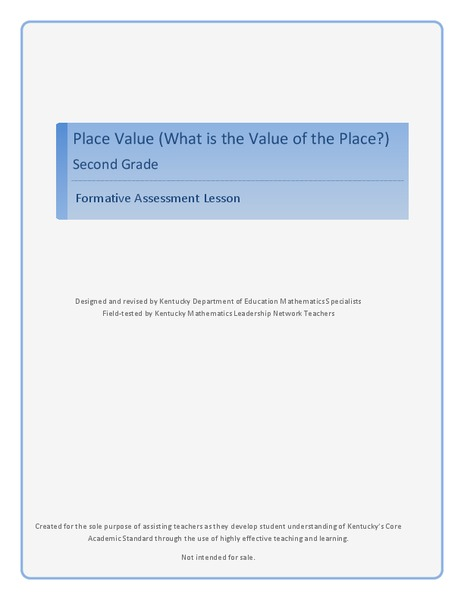 Place Value - What Is the Value of the Place? Lesson Plan